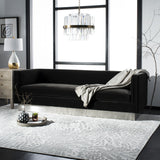 Safavieh Marquette Sofa Velvet Giotto Shale Brushed Stainless Steel Cotton Polyester Couture KNT7046A 889048391017