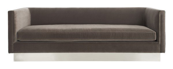 Safavieh Marquette Sofa Velvet Giotto Mouse Brushed Stainless Steel Cotton Polyester Couture KNT7046B 889048463264