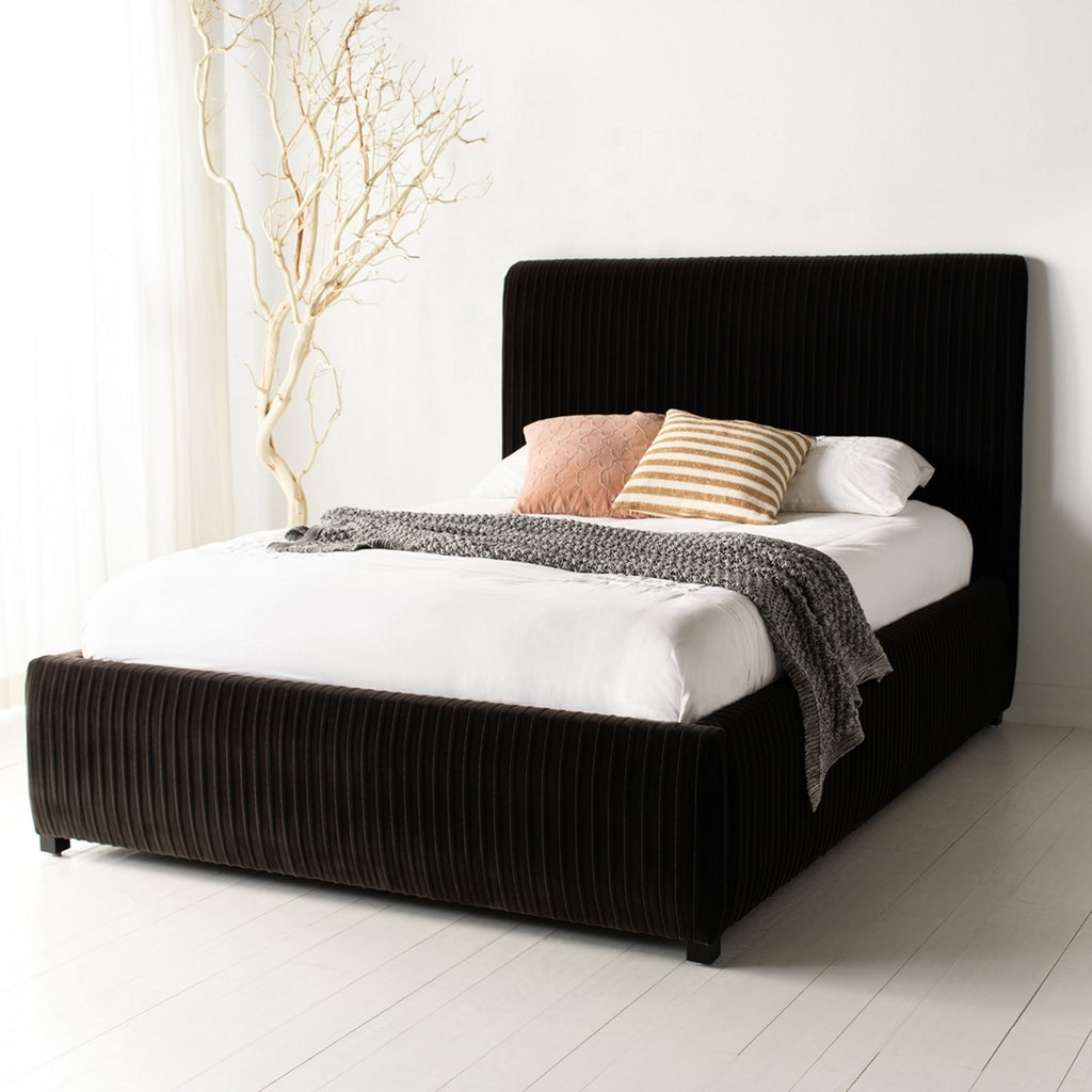 Safavieh Clarice Pleated Velvet King Bed in Shale and Espresso KNT7066A-K-2BX 889048585454