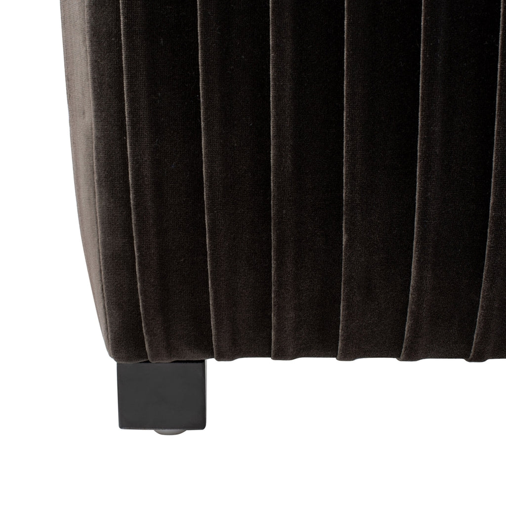 Safavieh Clarice Pleated Velvet Queen Bed in Shale and Espresso KNT7066A-Q-2BX 889048585522