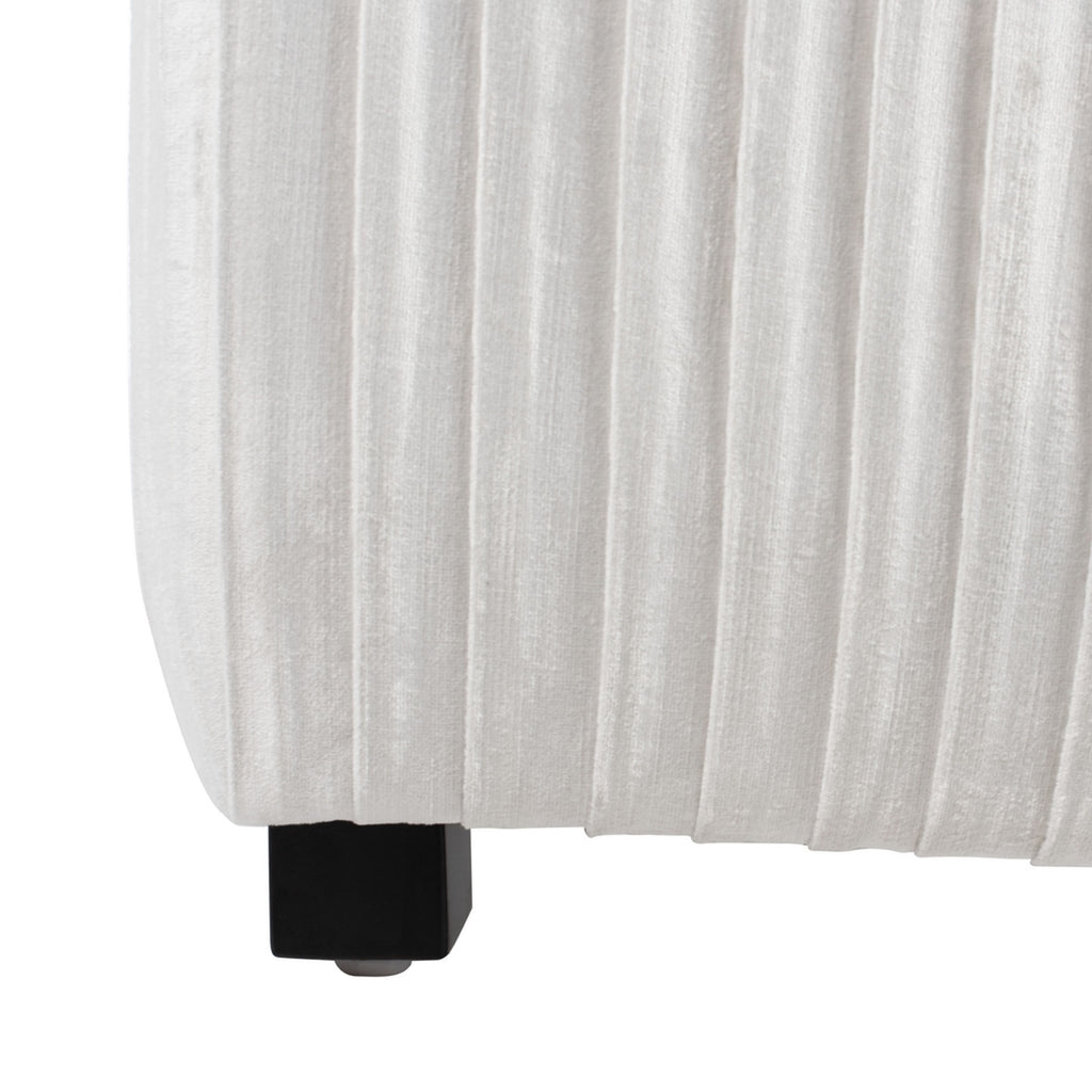 Safavieh Clarice Pleated Velvet Queen Bed in White KNT7066B-Q-2BX 889048586086