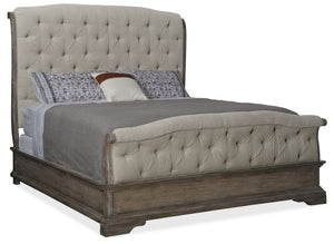 Hooker Furniture Woodlands Traditional-Formal King Upholstered Bed in Poplar and Hardwood Solids with Fabric, Foam and Quatered Oak Veneers and Plywood 5820-90866-84