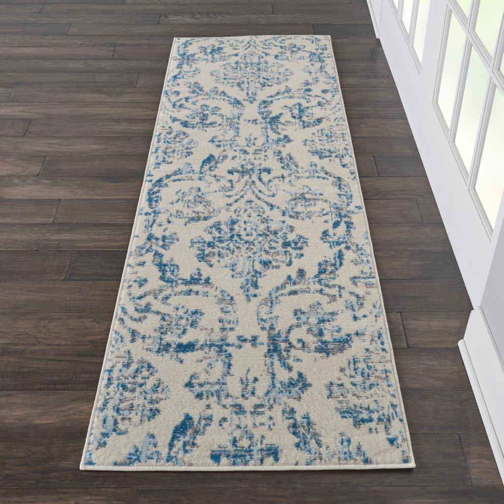"Jubilant JUB09 Power Loomed 100% Polypropylene Ivory/Blue 2'3"" x 7'3"" Runner Rug"