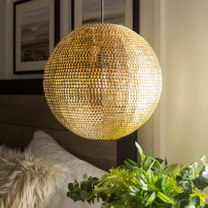 Walker Edison Modern Globe Hanging Pendant Light - Gold in Metal, Textile LIP16GLOGL 842158128034