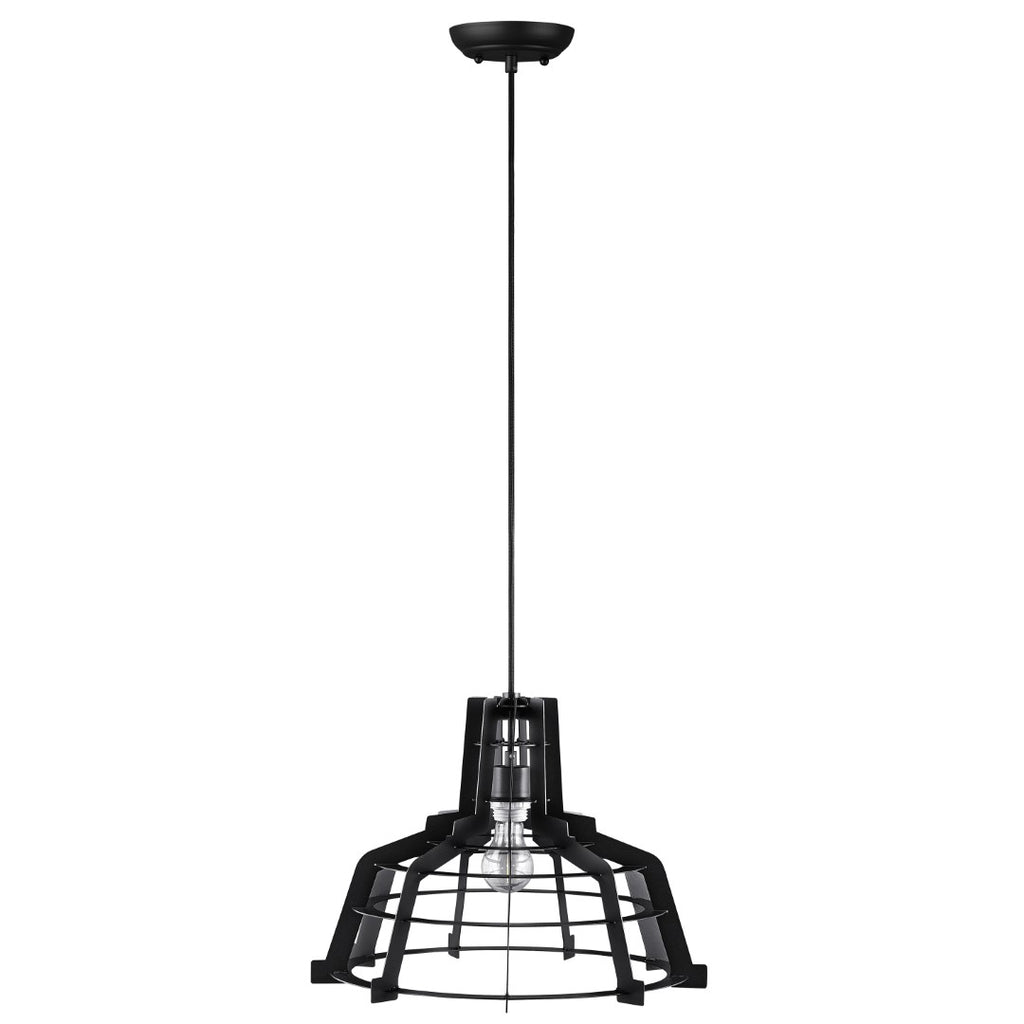 Walker Edison Industrial Hanging Pendant Light - Black in Laser-Cut Sheet Metal LIP18EDGEBL 842158128126