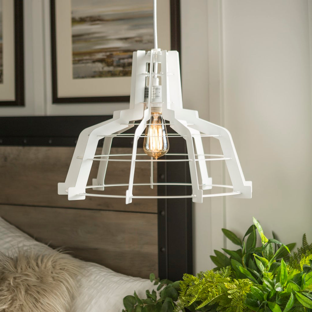 Walker Edison Industrial Hanging Pendant Light - White in Laser-Cut Sheet Metal LIP18EDGEWH 842158128133