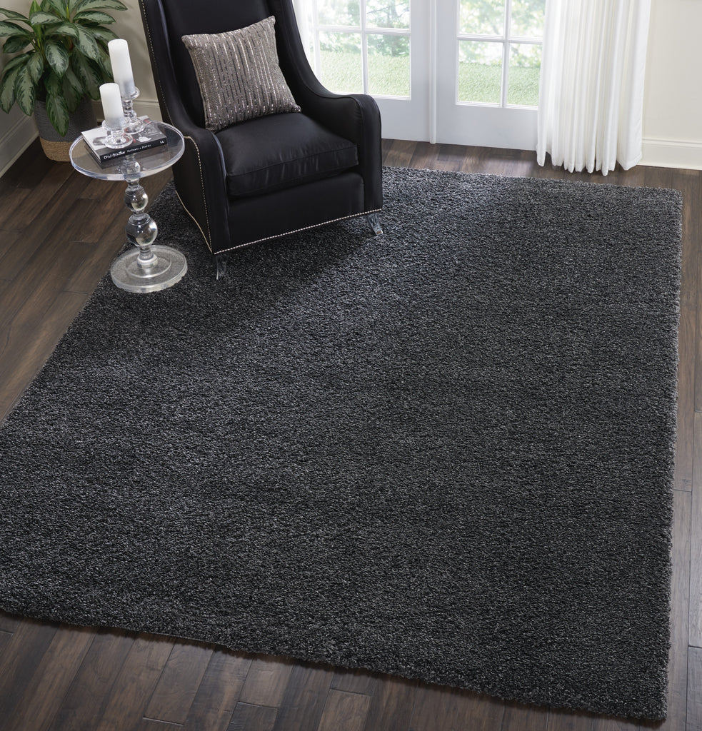"Malibu Shag MSG01 Power Loomed 100% Polypropylene Dark Grey 7'10"" x 9'10"" Rectangle Rug"