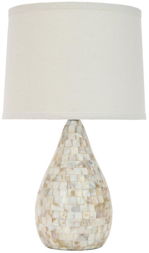 "Safavieh - Set of 2 - Lauralie Lamp Capiz Shell 20.5"" Ivory Off White Silver Cotton Resin LIT4011A-SET2 683726394778"