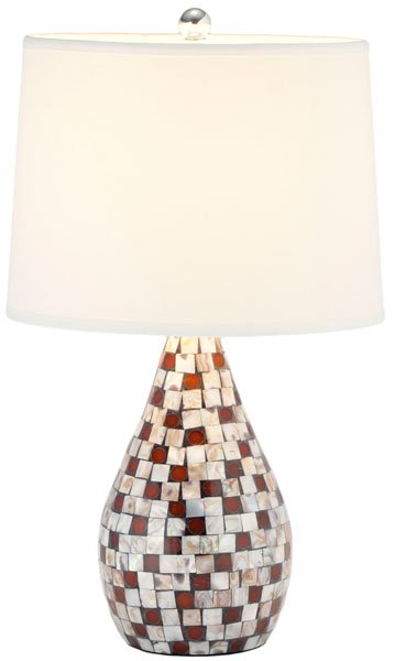 "Safavieh - Set of 2 - Lauralie Lamp Capiz Shell 20.5"" Multicolor Off White Silver Chrome Cotton LIT4011B-SET2 683726519973"