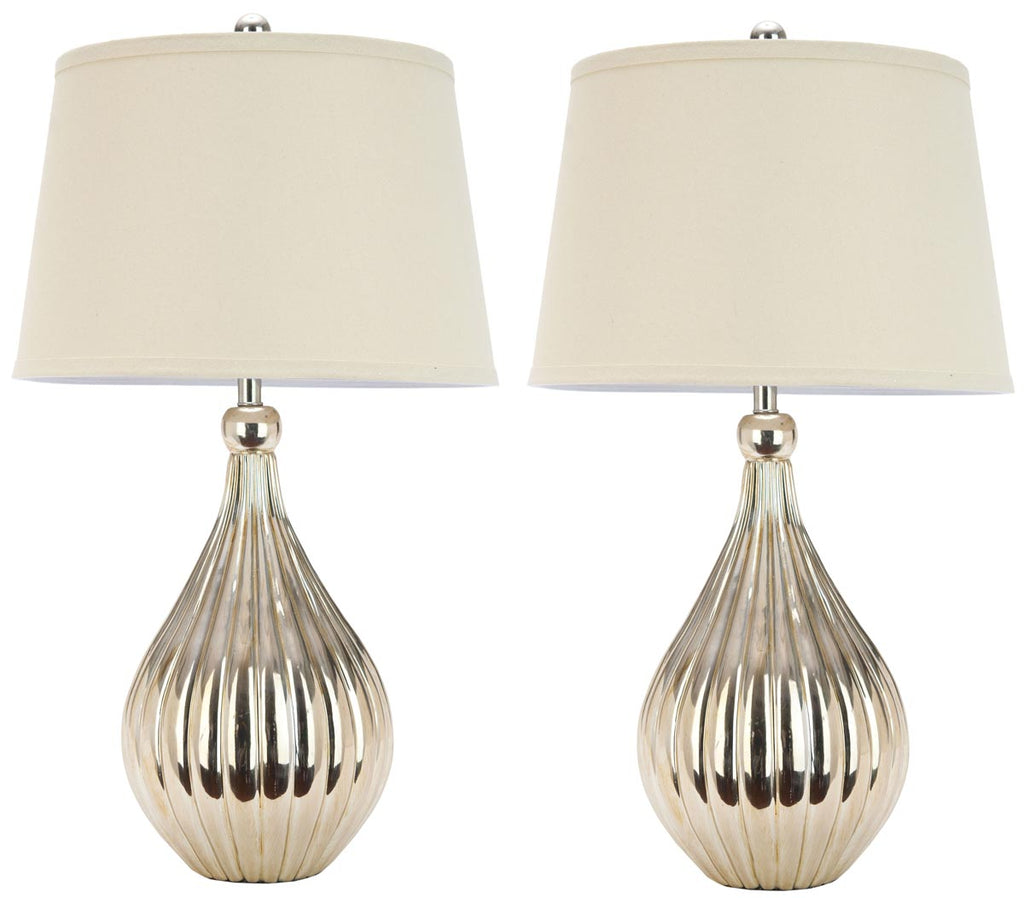 "Safavieh - Set of 2 - Elli Lamp Gourd 26"" Champagne Off White Gold Cotton Resin LIT4012A-SET2 683726394785"