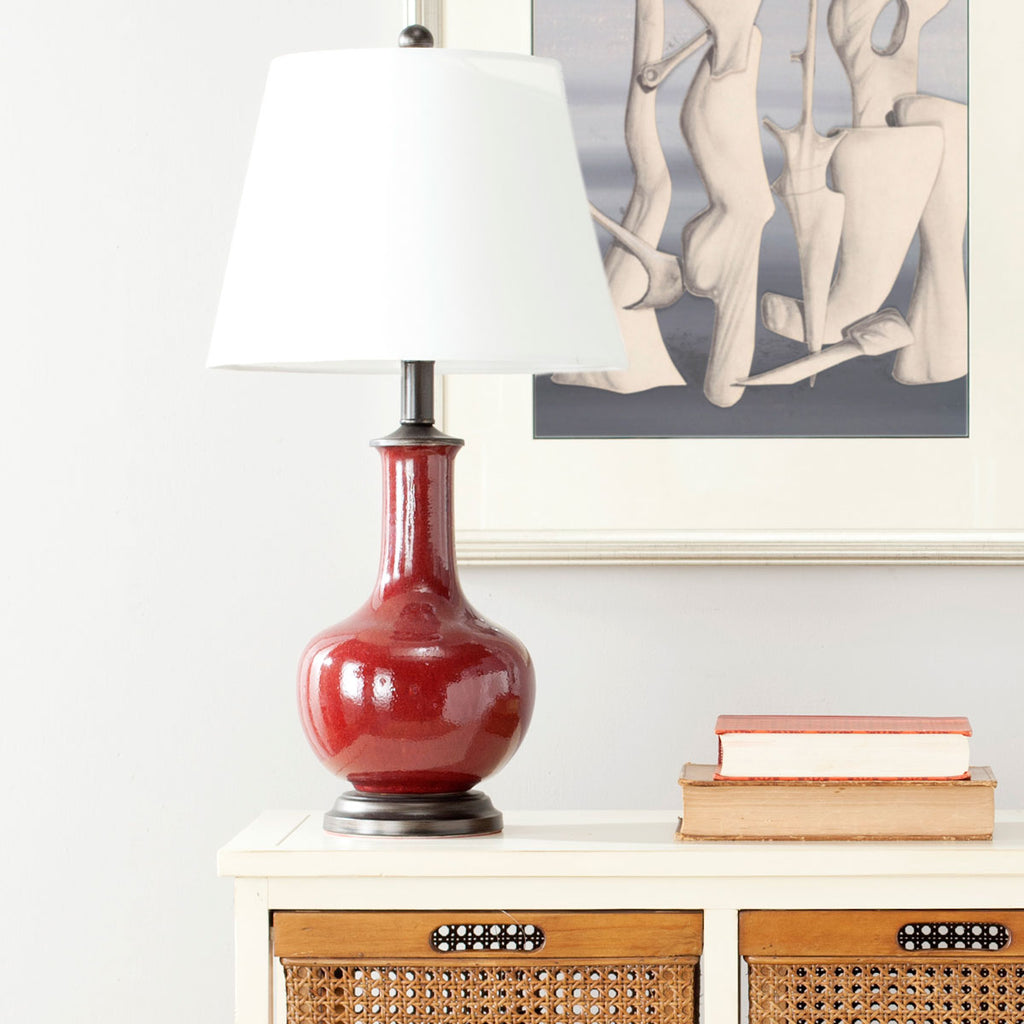 "Safavieh - Set of 2 - Carolanne Table Lamp 23.5"" Red Off White Black Silver Cotton Ceramic LIT4021A-SET2 683726519409"