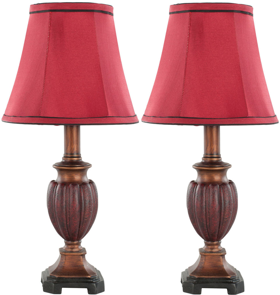 "Safavieh - Set of 2 - Hermione Lamp Urn 17"" Red Gold Polyester Resin LIT4029A-SET2 683726583462"