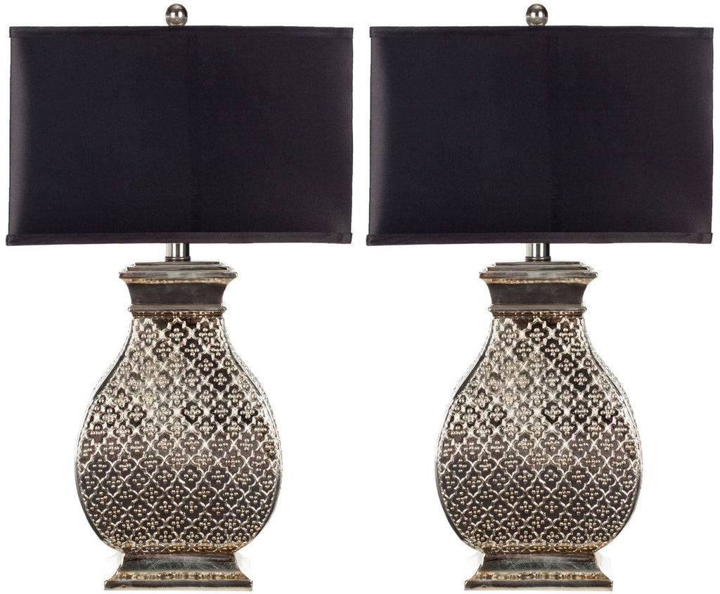 "Safavieh - Set of 2 - Malaga Table Lamp 29"" Antique Silver Black Champagne Polyester Resin LIT4064A-SET2 683726519942"