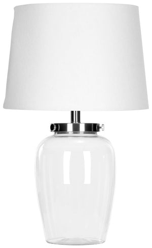 "Safavieh Evan Table Lamp Fillable Glass 22.5"" Clear Off White Silver Chrome Cotton LIT4066A 683726530848"