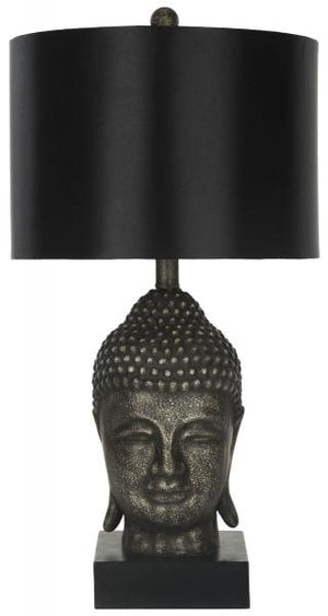 "Safavieh - Set of 2 - Table Lamp Golden Buddha 25"" Black Grey Polyester Resin LIT4070A-SET2 683726099598"