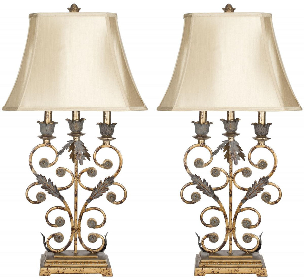 "Safavieh - Set of 2 - Lucia Table Lamp 32.5"" Gold Beige Polyester Metal LIT4072A-SET2 683726127321"