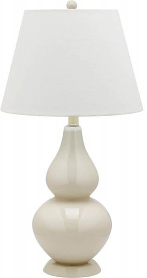 "Safavieh - Set of 2 - Cybil Lamp Double Gourd 26"" Cream Off White Silver Cotton Glass LIT4088A-SET2 683726408956"
