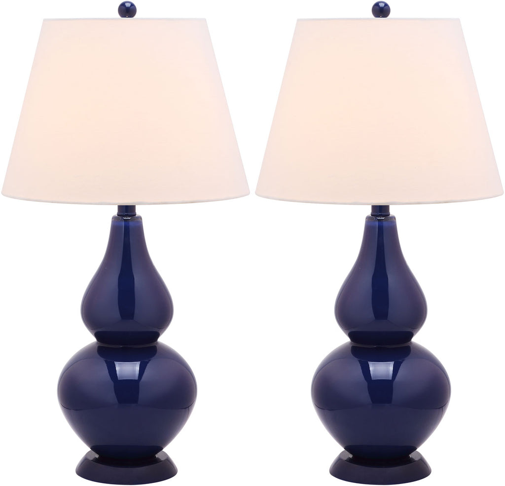 "Safavieh - Set of 2 - Cybil Lamp Double Gourd 26"" Navy Off White Silver Cotton Glass LIT4088B-SET2 683726408963"
