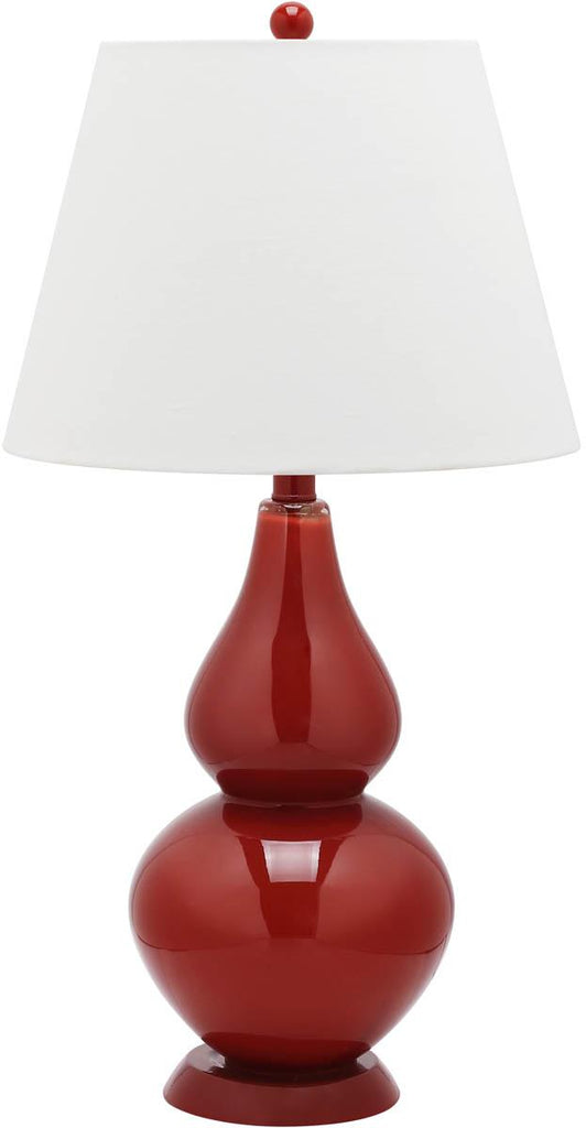 "Safavieh - Set of 2 - Cybil Lamp Double Gourd 26"" Red Off White Blood Orange Silver Cotton Glass LIT4088E-SET2 683726409083"