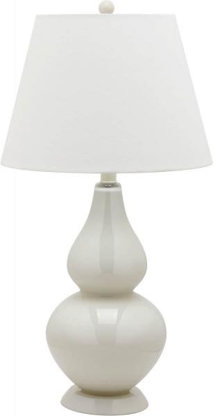 "Safavieh - Set of 2 - Cybil Lamp Double Gourd 26"" Pearl Off White Blood Orange Light Grey Silver Cotton Glass LIT4088F-SET2 683726409113"