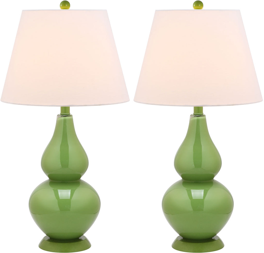 "Safavieh - Set of 2 - Cybil Lamp Double Gourd 26"" Green Off White Silver Cotton Glass LIT4088G-SET2 683726409137"