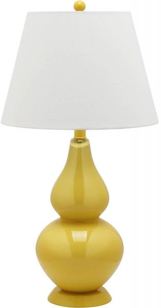"Safavieh - Set of 2 - Cybil Lamp Double Gourd 26"" Yellow Off White Silver Cotton Glass LIT4088H-SET2 683726409144"