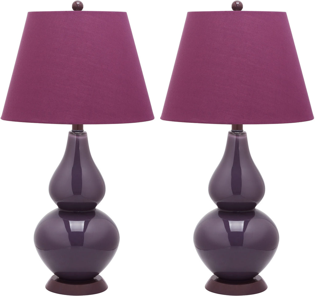 "Safavieh - Set of 2 - Cybil Lamp Double Gourd 26"" Dark Purple Silver Cotton Glass LIT4088K-SET2 683726409243"