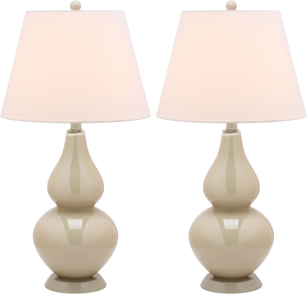 "Safavieh - Set of 2 - Cybil Lamp Double Gourd 26"" Taupe Off White Apricot Silver Cotton Glass LIT4088L-SET2 683726409281"