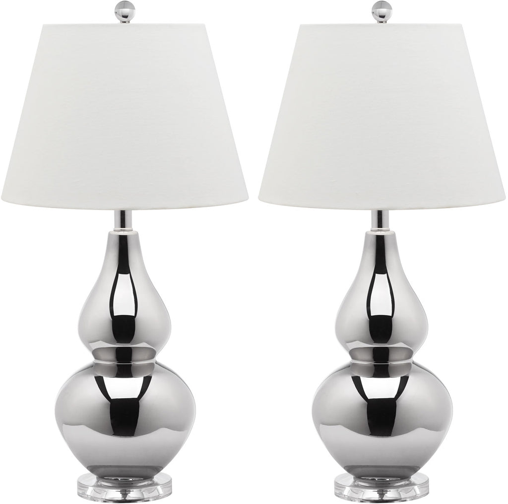 "Safavieh - Set of 2 - Cybil Lamp Double Gourd 26"" Silver Off White Clear Cotton Glass LIT4088N-SET2 683726409366"