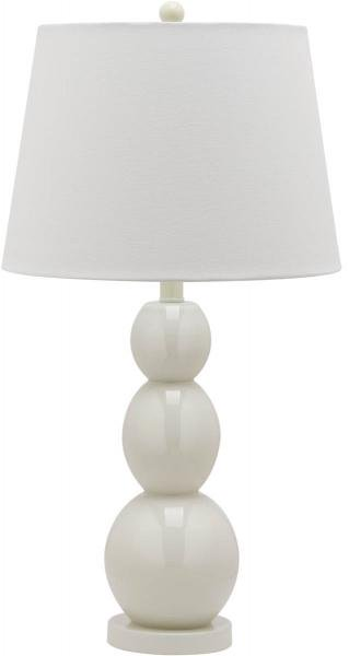 "Safavieh - Set of 2 - Jayne Lamp Three Sphere Glass 26.5"" White Silver Cotton LIT4089A-SET2 683726409397"