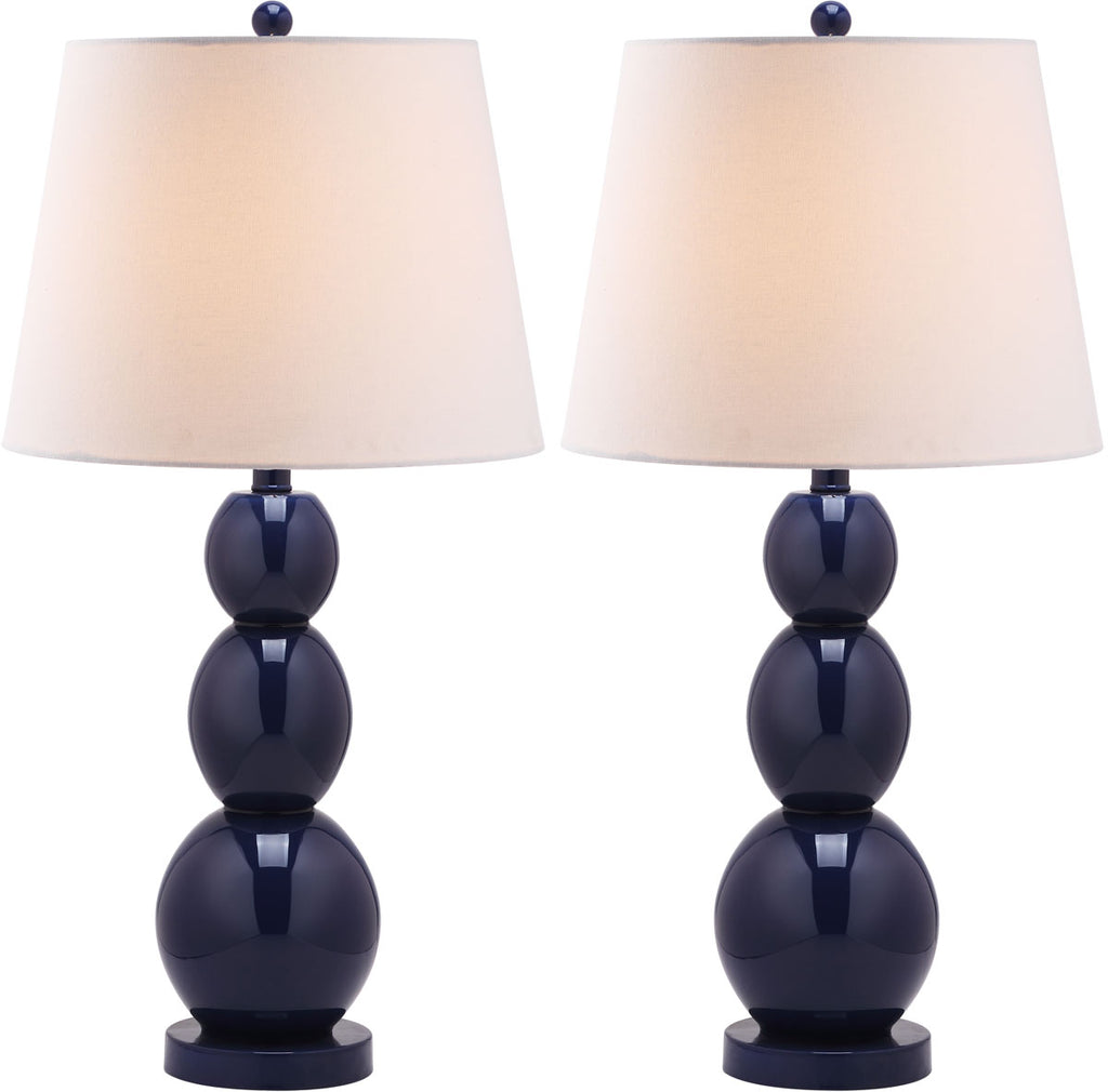 "Safavieh - Set of 2 - Jayne Lamp Three Sphere Glass 26.5"" Navy Off White Silver Cotton LIT4089B-SET2 683726409441"
