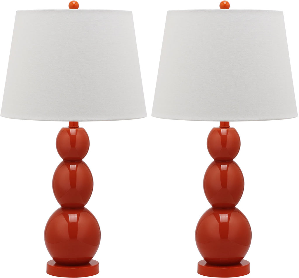 "Safavieh - Set of 2 - Jayne Lamp Three Sphere Glass 26.5"" Blood Orange Off White Silver Cotton LIT4089D-SET2 683726409502"