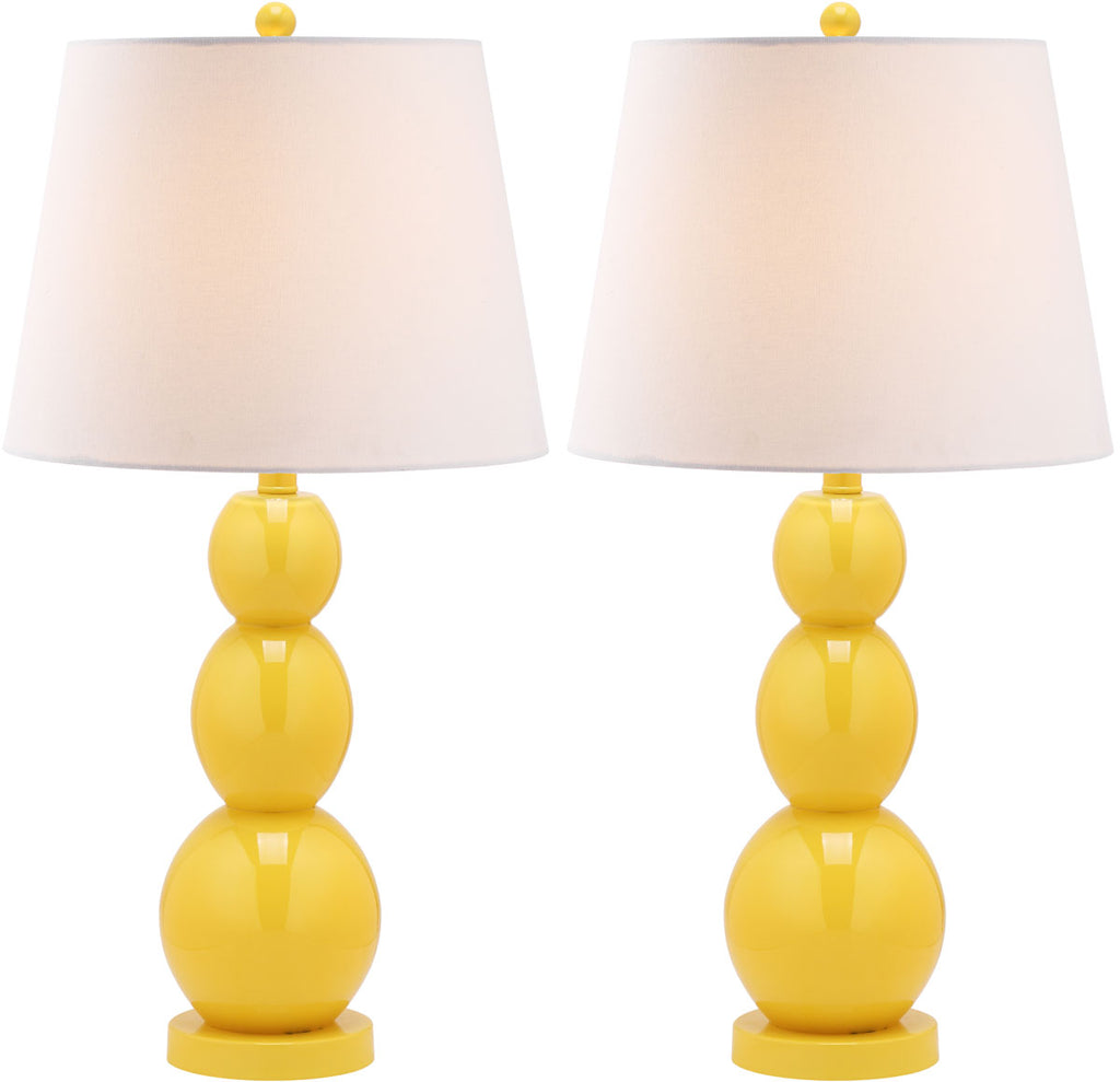"Safavieh - Set of 2 - Jayne Lamp Three Sphere Glass 26.5"" Yellow Off White Silver Cotton LIT4089H-SET2 683726409540"