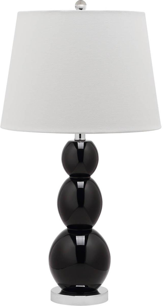 "Safavieh - Set of 2 - Jayne Lamp Three Sphere Glass 26.5"" Black Off White Silver Clear Cotton LIT4089J-SET2 683726409557"