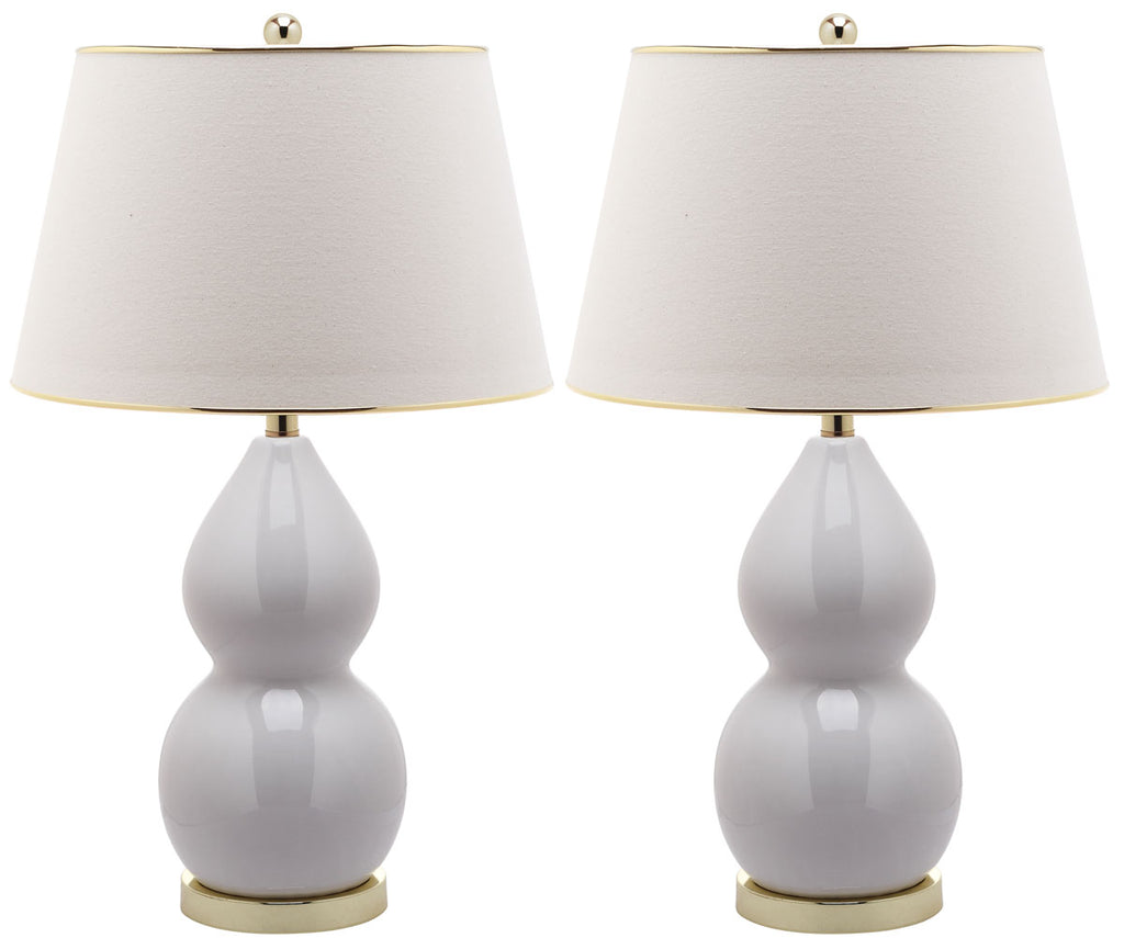 "Safavieh - Set of 2 - Jill Lamp Double Gourd Ceramic 26.5"" White Gold Cotton LIT4093A-SET2 683726465843"