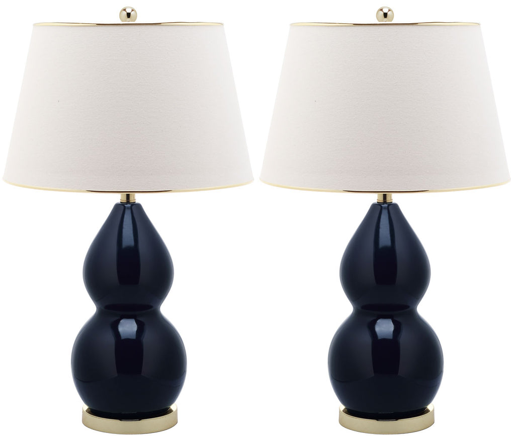"Safavieh - Set of 2 - Jill Lamp Double Gourd Ceramic 26.5"" Navy Off White Gold Cotton LIT4093B-SET2 683726546863"