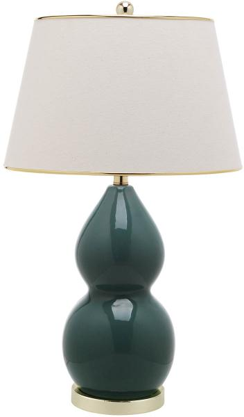 "Safavieh - Set of 2 - Jill Lamp Double Gourd Ceramic 26.5"" Marine Blue Off White Gold Cotton LIT4093C-SET2 683726546870"