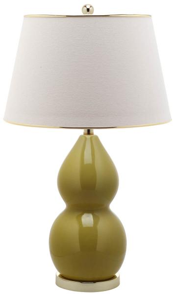 "Safavieh - Set of 2 - Jill Lamp Double Gourd Ceramic 26.5"" Mustard Gold Off White Cotton LIT4093H-SET2 683726559498"