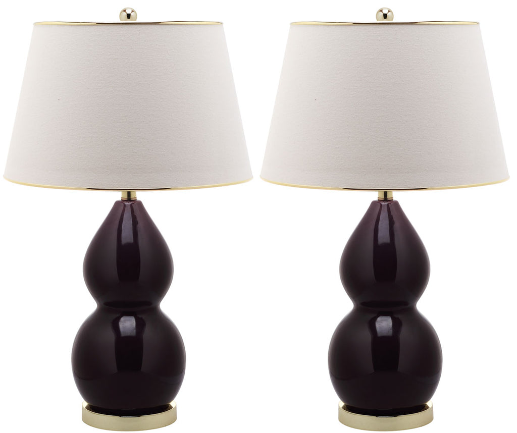 "Safavieh - Set of 2 - Jill Lamp Double Gourd Ceramic 26.5"" Dark Purple Off White Gold Cotton LIT4093K-SET2 683726559528"