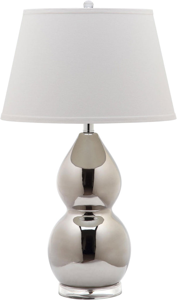 "Safavieh - Set of 2 - Jill Lamp Double Gourd Ceramic 26.5"" Silver Off White Clear Cotton LIT4093M-SET2 683726713951"
