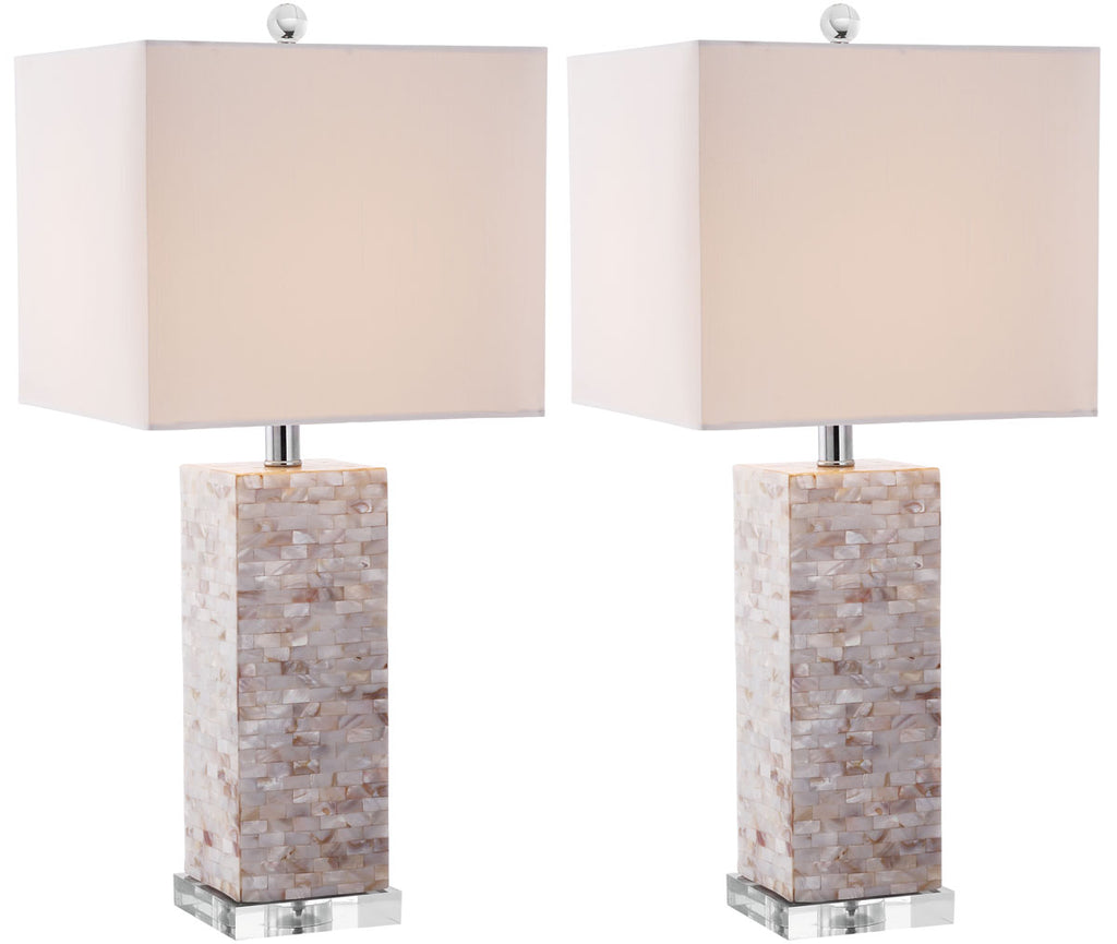 "Safavieh - Set of 2 - Homer Table Lamp Shell 26"" Cream White Silver Clear Cotton Polyester LIT4106A-SET2 683726416012"