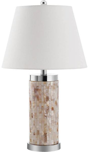 "Safavieh - Set of 2 - Diana Table Lamp Shell 25"" Cream White Silver Clear Cotton Polyester LIT4110A-SET2 683726416319"