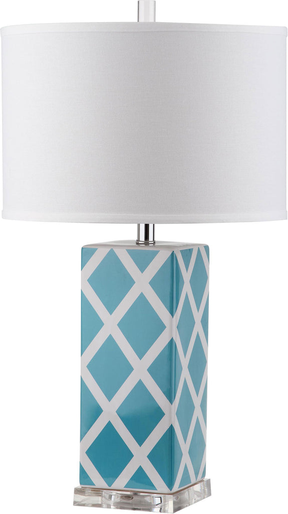 "Safavieh - Set of 2 - Garden Table Lamp Lattice 27"" Light Blue Off White Silver Clear Cotton Ceramic LIT4134B-SET2 683726715719"