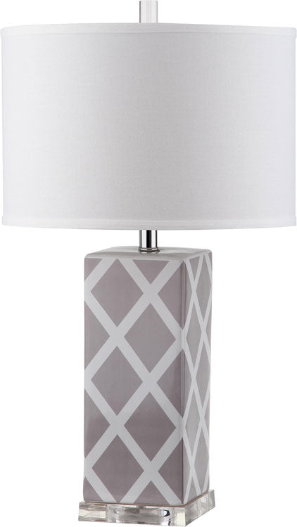 "Safavieh - Set of 2 - Garden Table Lamp Lattice 27"" Grey Off White Silver Clear Cotton Ceramic LIT4134C-SET2 683726715733"
