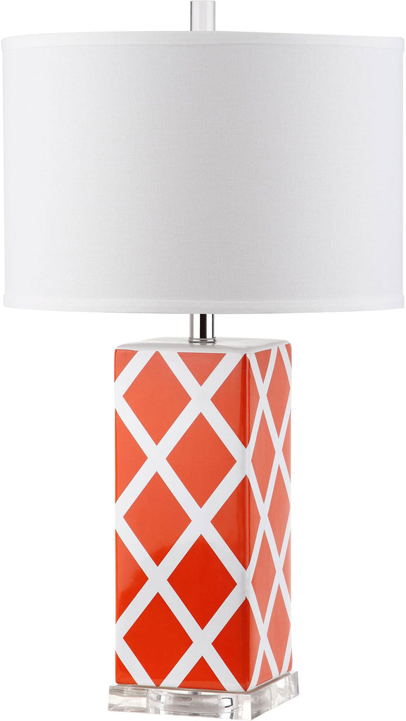 "Safavieh - Set of 2 - Garden Table Lamp Lattice 27"" Orange Off White Silver Clear Cotton Ceramic LIT4134D-SET2 683726715757"