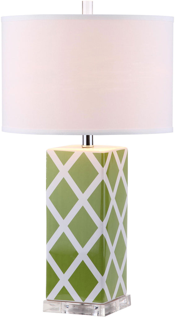 "Safavieh - Set of 2 - Garden Table Lamp Lattice 27"" Green Off White Silver Clear Cotton Ceramic LIT4134F-SET2 683726715825"