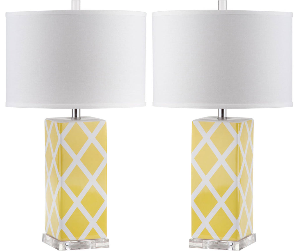 "Safavieh - Set of 2 - Garden Table Lamp Lattice 27"" Yellow Off White Silver Clear Cotton Ceramic LIT4134G-SET2 683726715849"