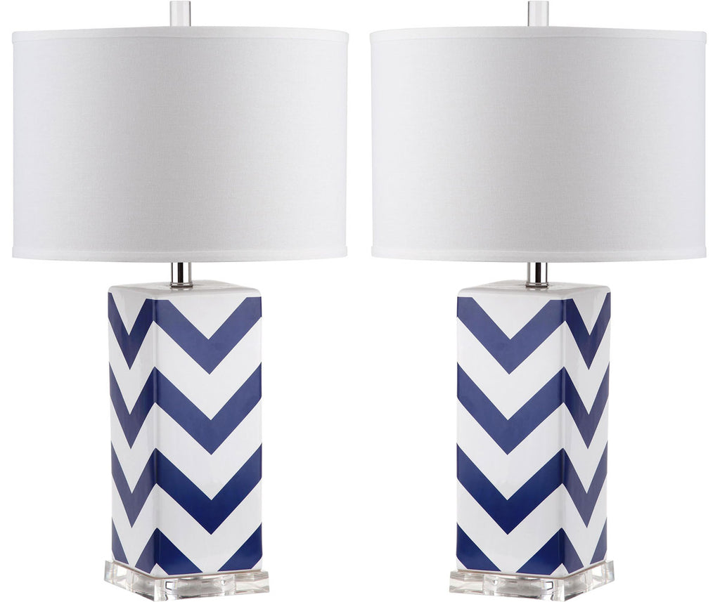 "Safavieh - Set of 2 - Table Lamp Chevron Stripe 27"" Navy Off White Silver Clear Cotton Ceramic LIT4136A-SET2 683726716457"