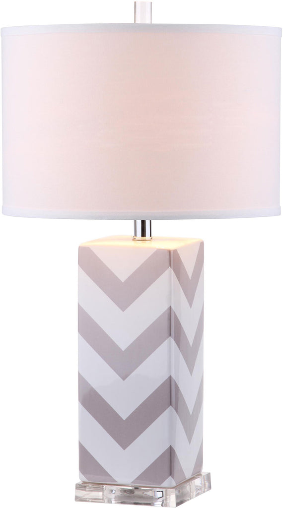 "Safavieh - Set of 2 - Table Lamp Chevron Stripe 27"" Grey Off White Silver Clear Cotton Ceramic LIT4136C-SET2 683726716495"