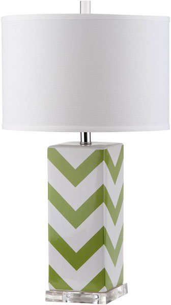"Safavieh - Set of 2 - Table Lamp Chevron Stripe 27"" Green Off White Silver Clear Cotton Ceramic LIT4136F-SET2 683726716556"